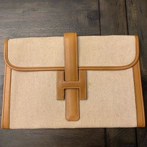 Hermes Jige Clutch - Linen fabric and leather